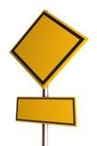 Muestra de camino amarilla en blanco Imagenes de archivo