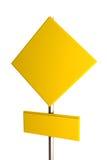 Muestra de camino amarilla en blanco Imágenes de archivo libres de regalías
