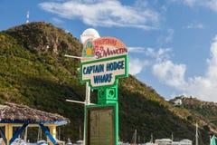 Muestra de capitán Hodge Wharf Entrance Foto de archivo libre de regalías