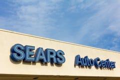 Muestra de centro auto de Sears Imágenes de archivo libres de regalías