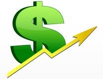 Muestra de dólar/beneficios para arriba Fotografía de archivo
