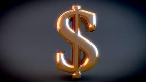 Muestra de dólar brillante del oro 3D, con el fondo gris Imagenes de archivo