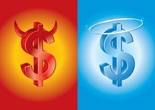Muestra de dólar como diablo y ángel Imágenes de archivo libres de regalías