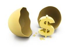 Muestra de dólar con el huevo Imagen de archivo