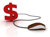 Muestra de dólar con el ratón del ordenador Imagen de archivo libre de regalías