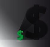 Muestra de dólar con la sombra en la pared Imagen de archivo libre de regalías