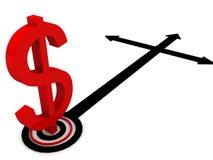 Muestra de dólar con las flechas de la dirección Imagen de archivo libre de regalías
