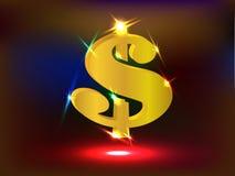 Muestra de dólar de EE. UU. de oro que brilla intensamente con los proyectores Fotos de archivo