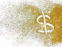 Muestra de dólar de oro de la chispa del brillo en el fondo blanco fotografía de archivo libre de regalías