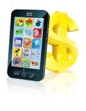 Muestra de dólar del teléfono celular y del oro ilustración del vector