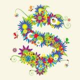 Muestra de dólar. Diseño floral Fotografía de archivo libre de regalías