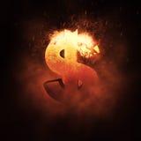 Muestra de dólar en el fuego Imágenes de archivo libres de regalías
