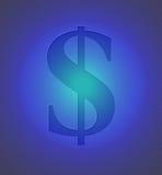 Muestra de dólar en el metal azul Fotos de archivo libres de regalías