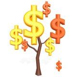 Muestra de dólar en un árbol Fotos de archivo libres de regalías