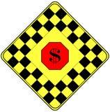 Muestra de dólar en una señal de peligro del tráfico Fotos de archivo