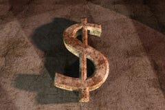 Muestra de dólar oxidada 3d en fondo del grunge Imágenes de archivo libres de regalías