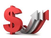 Muestra de dólar roja con crecer flechas Imagen de archivo libre de regalías