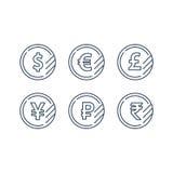 Muestra de dólar, símbolo euro, icono de la libra, moneda de la rublo, intercambio de moneda financiero stock de ilustración