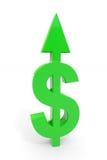 Muestra de dólar verde con la flecha para arriba. Fotografía de archivo