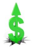 Muestra de dólar verde con la flecha para arriba que rompe el suelo. Imágenes de archivo libres de regalías