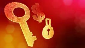 Muestra de dólar y emblema de la cerradura y de la llave Fondo de las finanzas de partículas luminosas animación del lazo 3D con  almacen de video