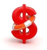 Muestra de dólar y salvavidas (trayectoria de recortes incluida) stock de ilustración