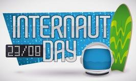 Muestra de Digitaces, tabla hawaiana y astronauta Helmet para el día del Internaut, ejemplo del vector Foto de archivo