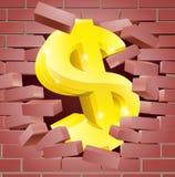 Muestra de dólar que se rompe a través de la pared de ladrillo Imagenes de archivo