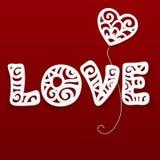 Muestra de encaje de papel cortada vector del amor Foto de archivo libre de regalías