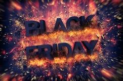 Muestra de estallido de Black Friday con las ascuas stock de ilustración