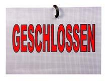 Muestra de Geschlossen Fotografía de archivo libre de regalías