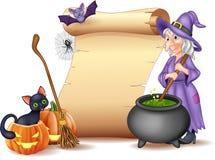 Muestra de Halloween con la bruja que revuelve la poción mágica ilustración del vector