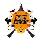 Muestra de Halloween con la calabaza, palos, gatos, araña, sombrero de las brujas Fotografía de archivo libre de regalías