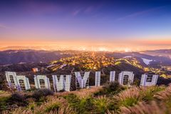 Muestra de Hollywood California imagen de archivo