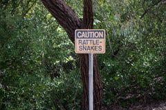 Muestra de la advertencia/de la precaución de la serpiente de cascabel en el parque fotografía de archivo
