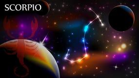 Muestra de la astrología - escorpión con el copyspace stock de ilustración