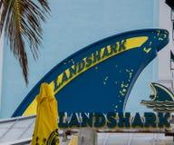 Muestra de la barra de Landshark en el centro turístico de Margaritaville fotos de archivo