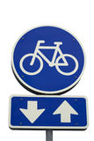 Muestra de la bicicleta con las flechas Fotografía de archivo libre de regalías