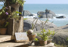 Muestra de la cafetería en una isla tropical Imagen de archivo