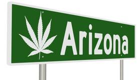 Muestra de la carretera con la hoja de la marijuana para Arizona ilustración del vector