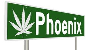 Muestra de la carretera con la hoja de la marijuana para Phoenix Stock de ilustración
