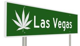 Muestra de la carretera de Las Vegas con la hoja de la marijuana Foto de archivo