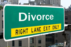 Muestra de la carretera del divorcio Fotos de archivo libres de regalías