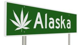 Muestra de la carretera para Alaska con la hoja de la marijuana Ilustración del Vector