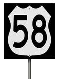 Muestra de la carretera para la ruta 58 Fotografía de archivo