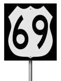 Muestra de la carretera para la ruta 69 Imagen de archivo libre de regalías