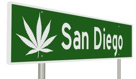 Muestra de la carretera para San Diego California con la hoja de la marijuana Fotos de archivo