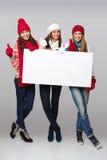 Muestra de la cartelera de las mujeres del invierno Fotos de archivo libres de regalías
