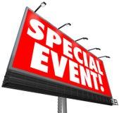 Muestra de la cartelera del evento especial que hace publicidad de la venta exclusiva limitada Imagen de archivo