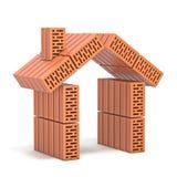 Muestra de la casa hecha de los ladrillos 3D stock de ilustración